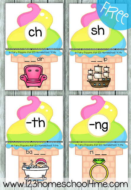 FREE Digraph Ice Cream Puzzles - these are such a fun way for kids to practice identifying both beginning and ending digraphs in words. This is perfect for literacy centers, summer learning for kids, and homeschooling with first grade and second grade kids. LOVE THIS!!