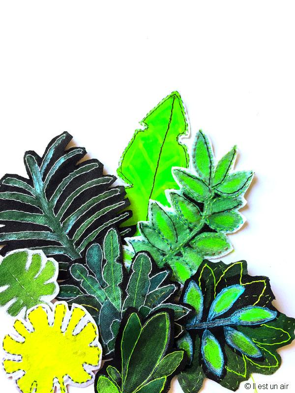 feuilles textiles brodés