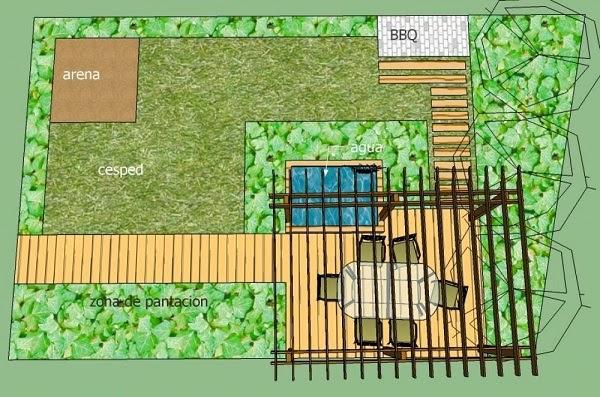 Un jard n con terraza de madera guia de jardin for Planos de jardines