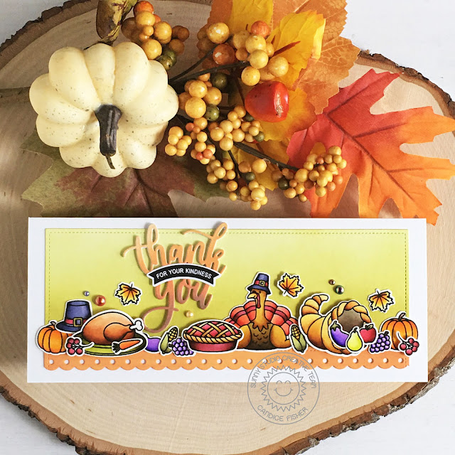 Sunny Studio Stamps: Bountiful Autumn Slimline Dies Thank You Card by Candice Fisher