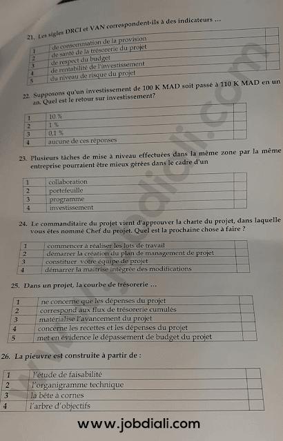 Exemple Concours Administrateurs 2ème grade Gestion - Ministère du Tourisme de l'Artisanat du Transport Aérien et de l'Économie Sociale