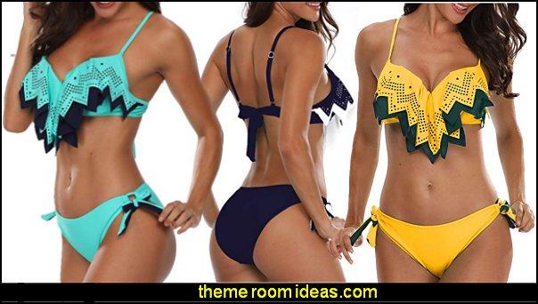 Holipick Women Two Piece Push Up Flounce Bikini Sets Tie Bottom Bathing Suit