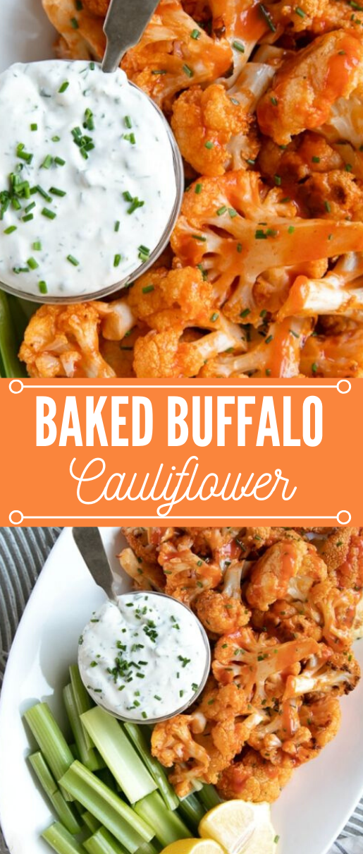 BAKED BUFFALO CAULIFLOWER RECIPE #cauliflower #dinner #recipes #buffalo #lunch
