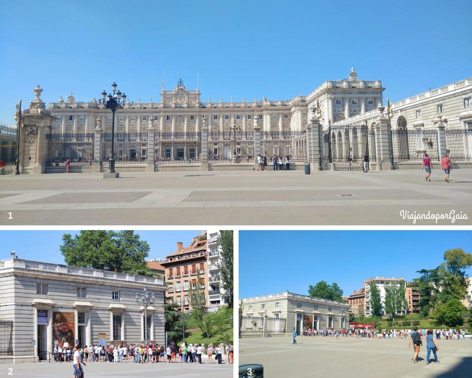 Palacio Real desde la explanada de la Almudena y fila para ingresar a eso de las 16:40 horas.
