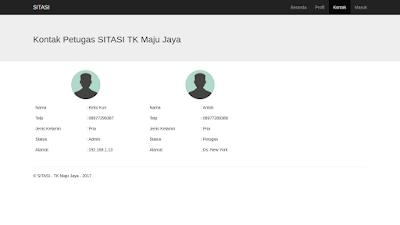 Halaman Kontak dari Sistem Informasi Tabungan Siswa menggunakan Bootstrap