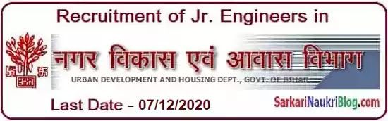 Jr. Engineer Recruitment 2020 in Bihar UDHD