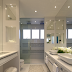 Banheiro branco com pastilhas, bancada de maquiagem e nichos!