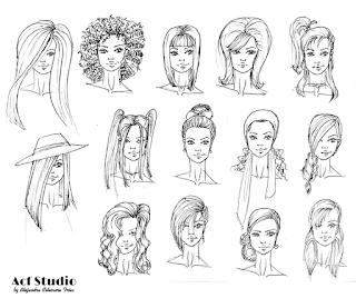 Plantilla con distintos peinados de figurines de moda para descargar