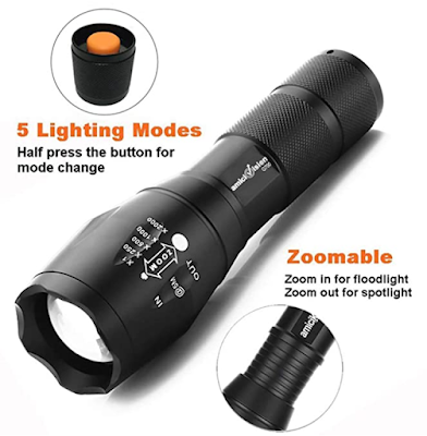 amiciVision Metal LED Torch Flashlight XML T6 with Rechargeable Battery and Smart Battery Charger