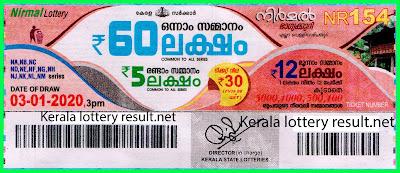 Kerala Lottery Result 03-01-2020 Nirmal NR-154 (keralalotteryresult.net)