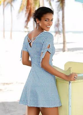 Blue Stripe Floral Beach time dress back side