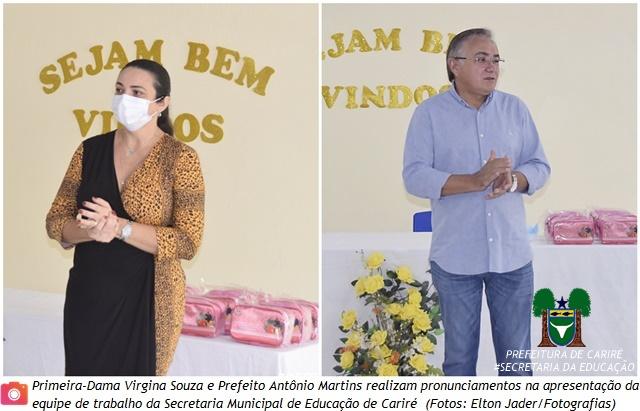 Prefeito Antônio Martins e a 1ª Dama Virgina Souza realizam pronunciamentos na apresentação da nova equipe da Educação