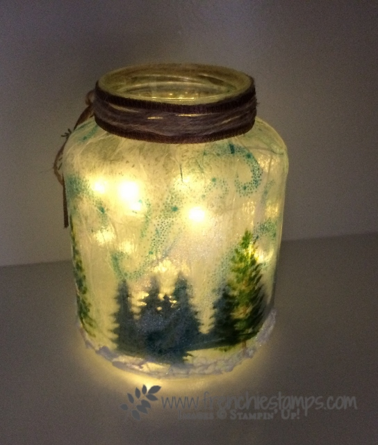 Winter Luminary, Recycle Glass Jar, Fairy Light, Frenchiestamps, Pretty Pines Thinlits, Season Like Christmas, Card Front Builder Thinlits, Stampin'Up!, Frenchiestamps,
