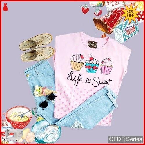 OFDF291 Atasan Kaos Life Is Sweet Cupcake BMGShop