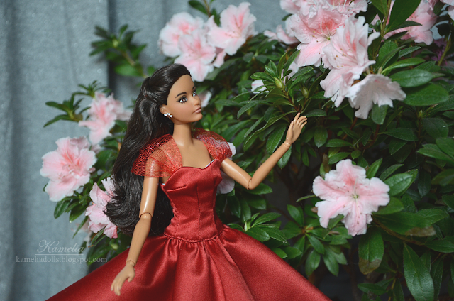 Red evening gown for 1/6 scale doll