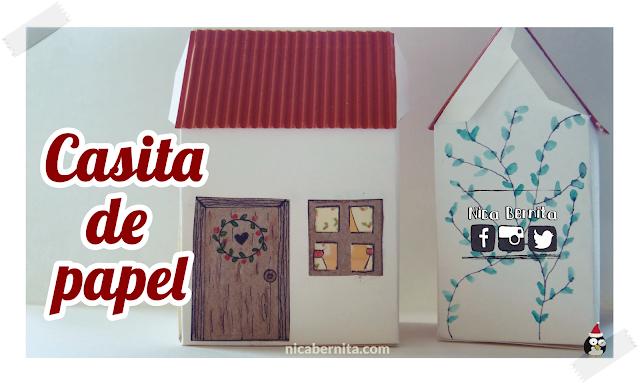 Cómo hacer una casa de papel, caja de cartulina o cartón. Adorno de navidad o portavelas