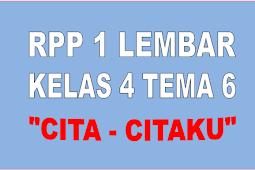 RPP 1 LEMBAR KELAS 4 TEMA 6 SEMESTER 2