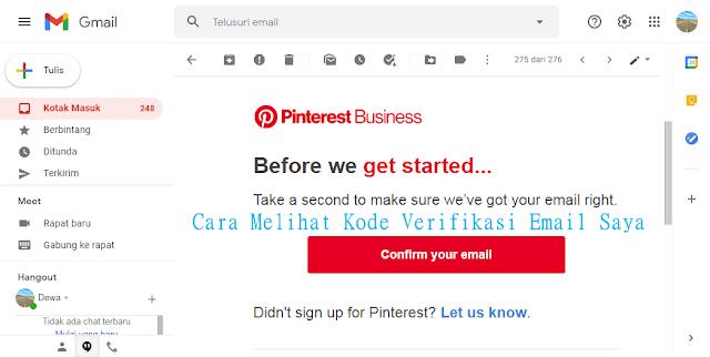 cara melihat kode verifikasi email
