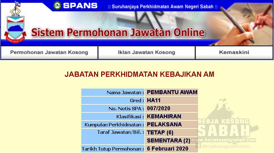 Kekosongan Jawatan Kerajaan Negeri Sabah 2020 Pembantu Awam Gred H11 Jawatan Kosong Terkini Negeri Sabah