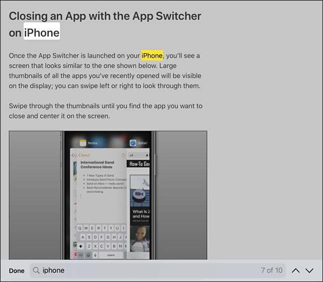 ابحث في نتائج البحث في الصفحة في Safari على iPhone أو iPad