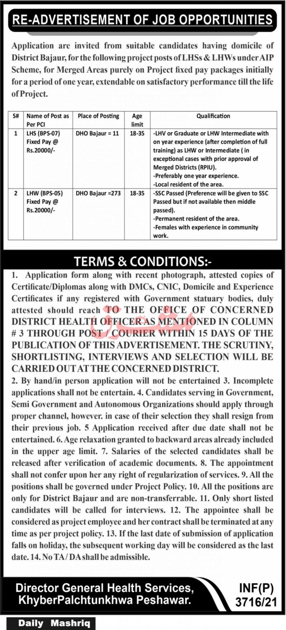 Bajaur Health Department Jobs 2021 in Pakistan