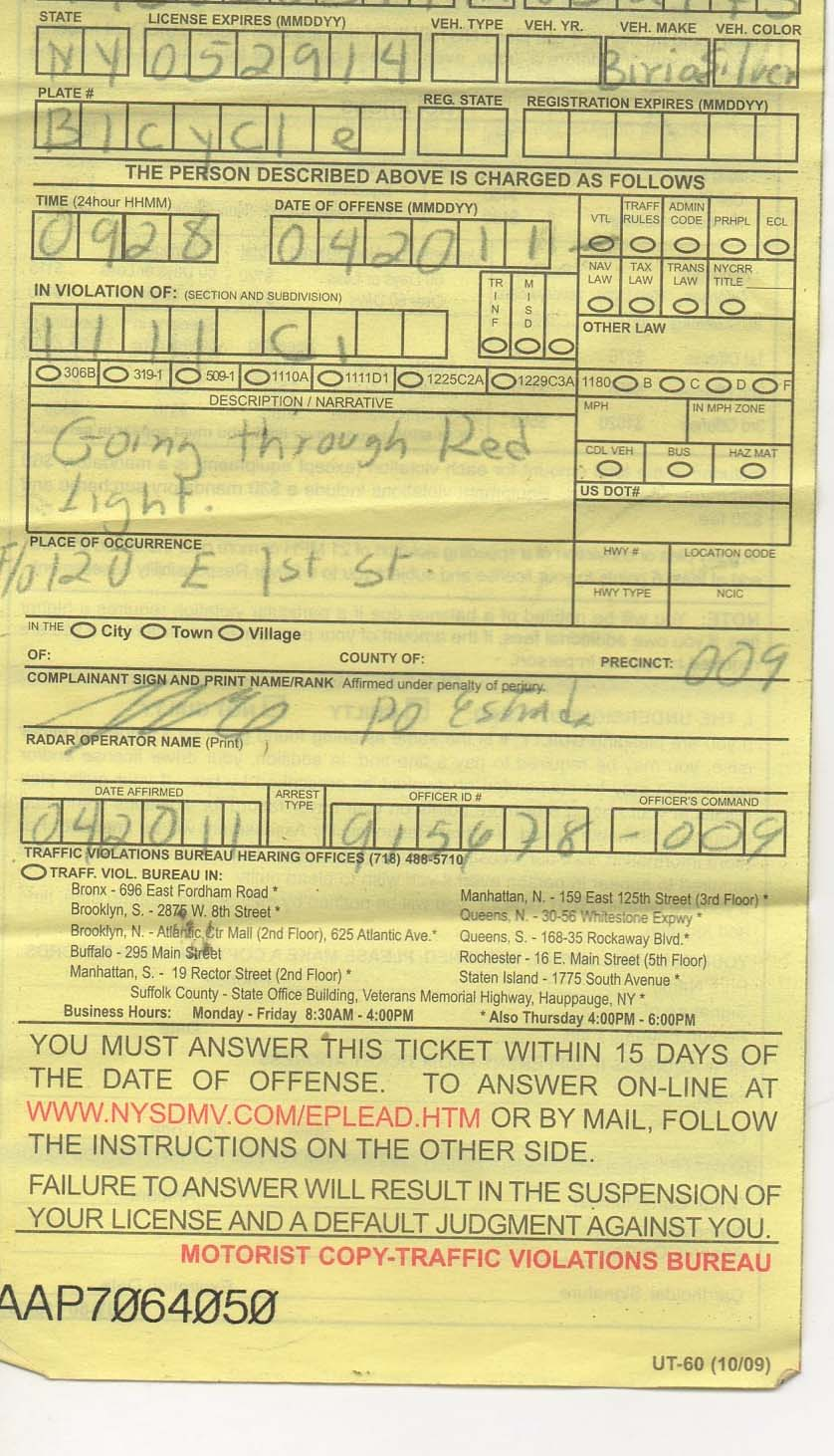Running A Red Light Ticket >> Ev Grieve Nypd Slaps 270 Ticket On East Village Cyclist For