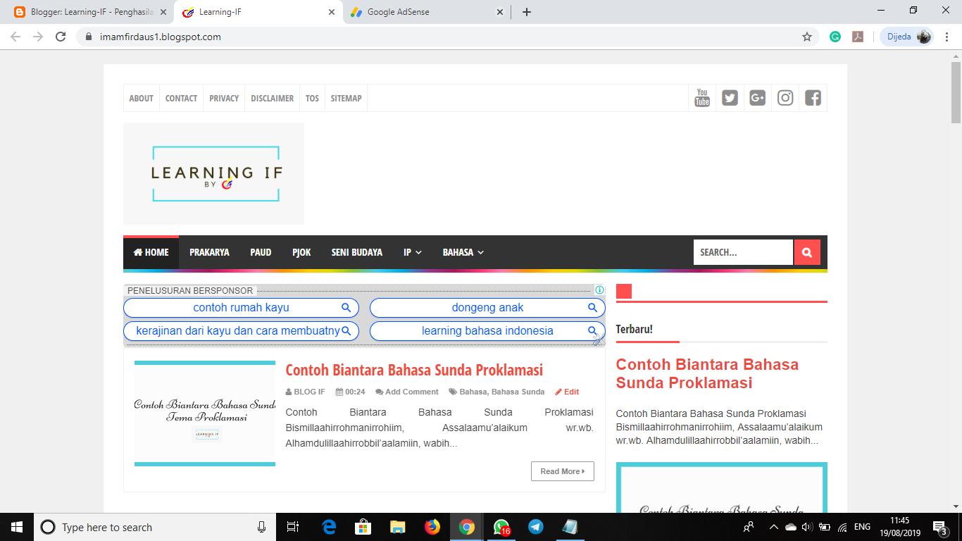 Cara Daftar Google Adsense dengan domain Blogspot - Tips-IF