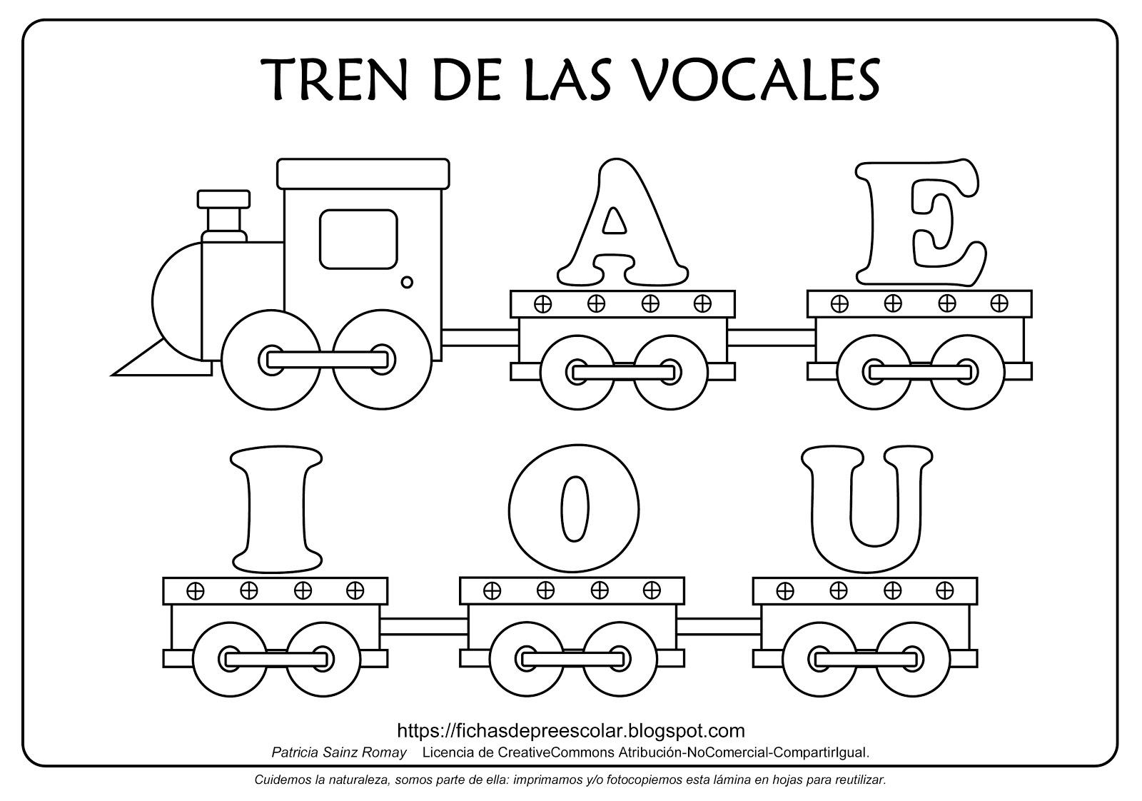 FICHAS DE EDUCACIÓN PREESCOLAR: TREN DE LAS VOCALES PARA COLOREAR