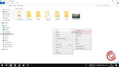 2. Untuk tampilan terbesar folder dan file yang paling umum digunakan ialah Large icons. Namun kalian bisa mencoba Medium icons atau Extra large icons, di sesuaikan dengan kebutuhan saja
