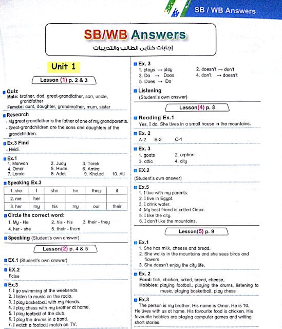 تحميل اجابات كتاب اللغة الانجليزية اولى إعدادى ترم اول 2020