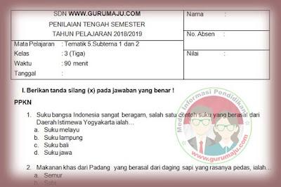 Soal PTS Kelas 3 Semester 2 Kurikulum 2013 Revisi 2018