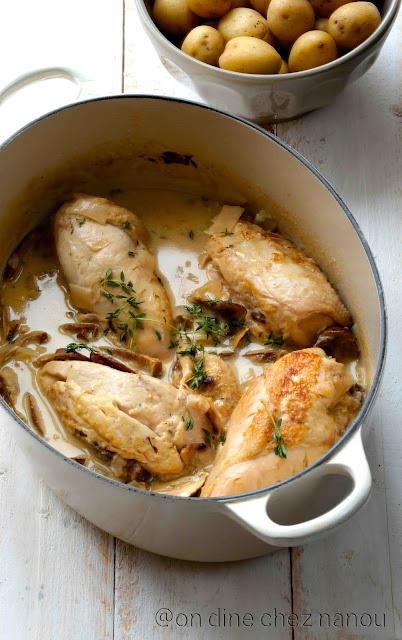 poulet , Riesling , cèpes séchés , plat facile , plat de noel rapide