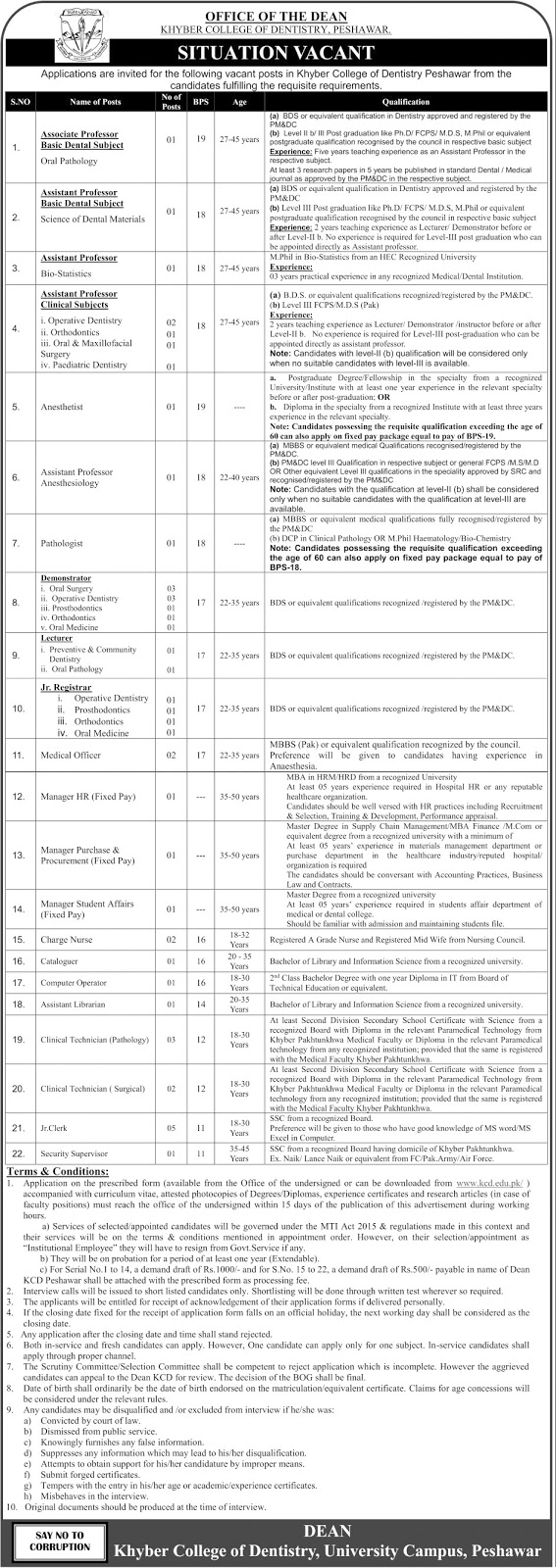 kcd peshawar jobs 6 May 2017