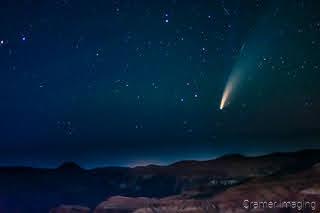 Cramer Imaging's fine art landscape photograph of comet Neowise above the Cedar Breaks Utah landscape at night