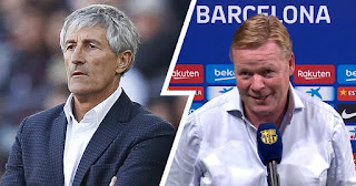 Koeman can't sit on bench in official match because Setien is still barca coach in paper.