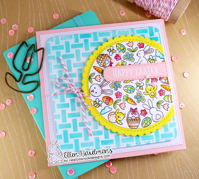 Happy Easter card by Ellen Haxelmans | Spring Roundabout Stamp Set, Banner Trio Die Set, Circle Frames Die Set, Frames Squared Die Set and Basketweave Stencil by Newton's Nook Designs #newtonsnook #handmade