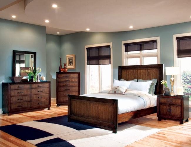 Dormitorio en azul y marrn  Ideas para decorar dormitorios