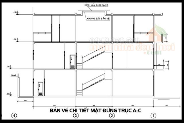 Bản vẽ mẫu thiết kế nhà phố 3 tầng thể hiện công năng từng không gian sử dụng