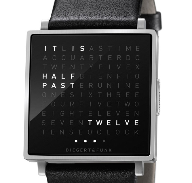 the qlocktwo w biegert funk 39 s beautiful wall clock is now a wristwatch if it 39 s hip it 39 s here. Black Bedroom Furniture Sets. Home Design Ideas