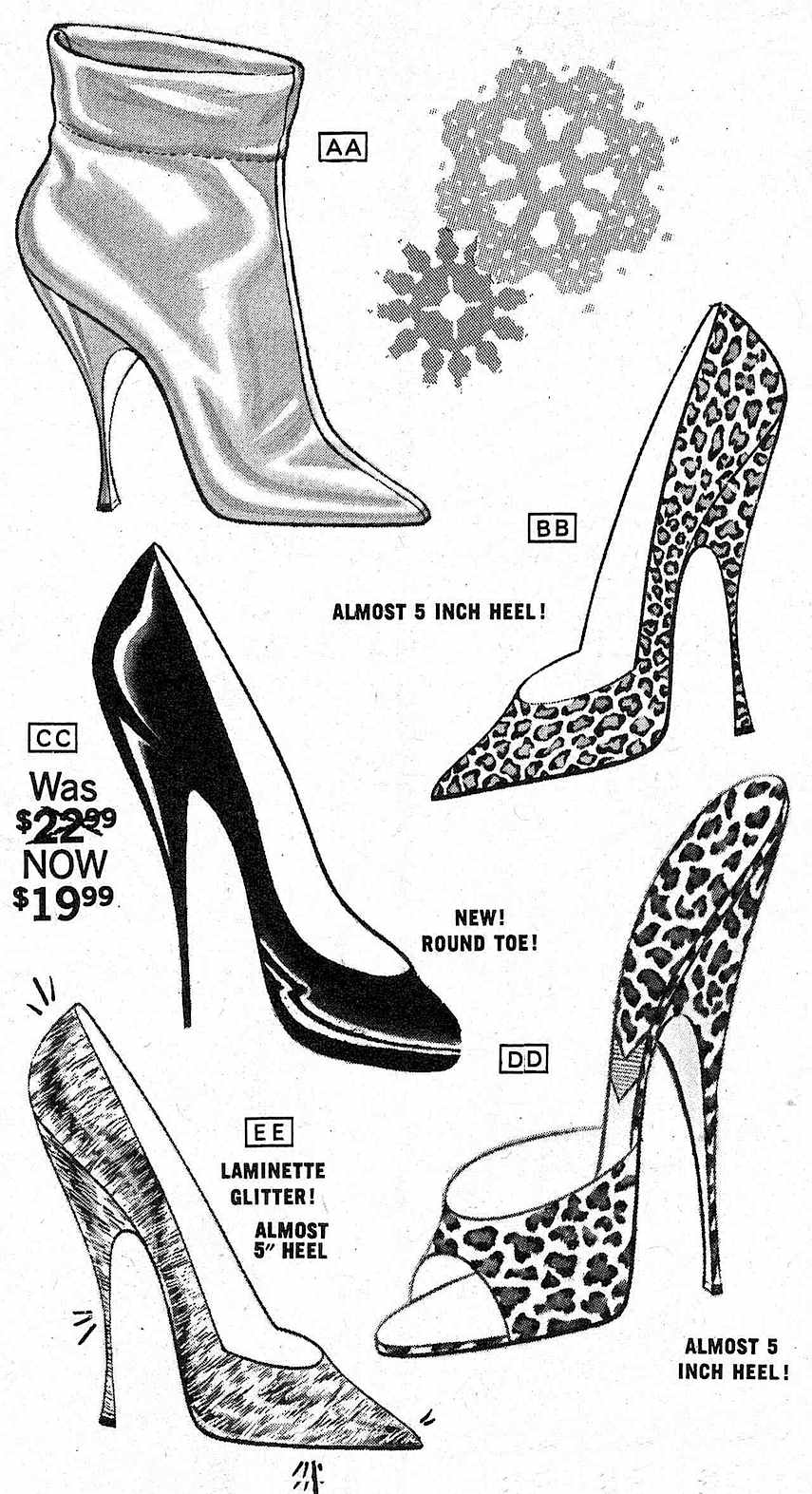 a 1960s Frederick's of Hollywood advertisement, erotic pumps
