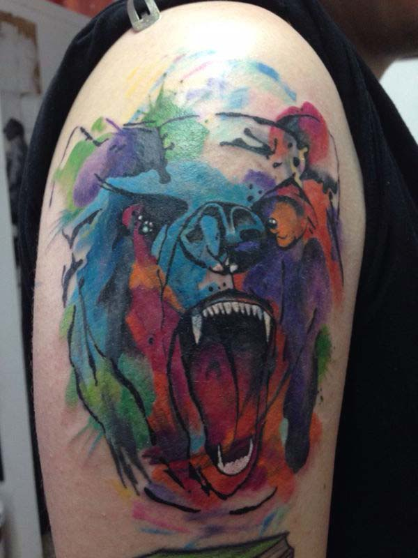colorful bear tattoo tumblr