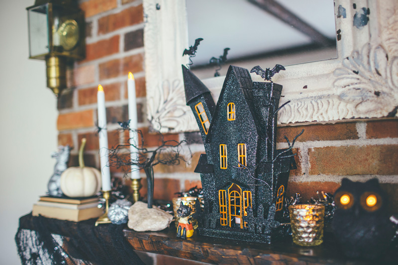 cute spooky whimsical halloween mantel decorating