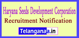 HSDC Haryana Seeds Development Corporation Limited Recruitment Notification 2017 Last Date 31-03-2017
