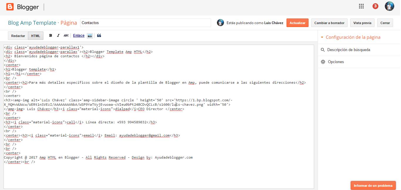 Plantilla de Blogger en Amp HTML | Ayuda de Blogger