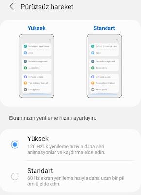 Samsung Galaxy S20+ Plus Telefonlarda Ekran Yenileme Hızı ve Ekran Çözünürlüğü Ayarlarını Yapmak