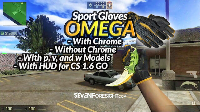 CSGo skin pack for CS 1.6 with Omega Gloves