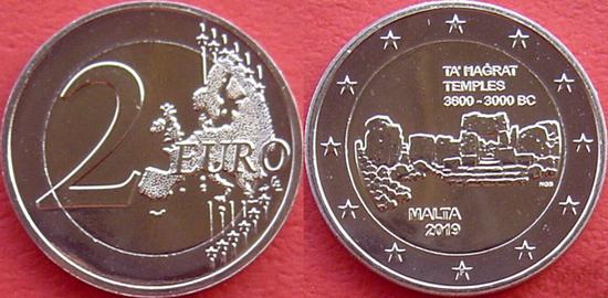 Malta 2 euro 2019 Hagar Qim temples
