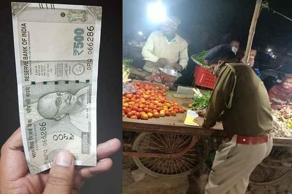 faridabad-police-challan-without-mask-gandhi-colony-sabji-seller