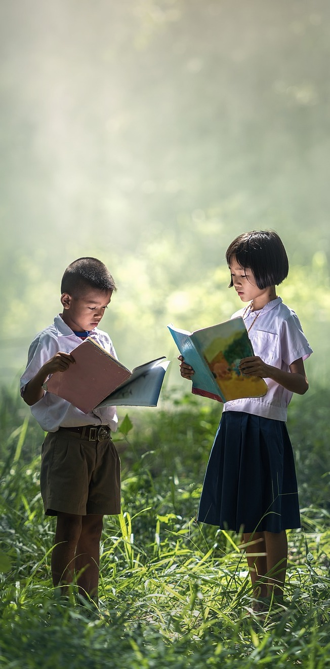 Kids studying.