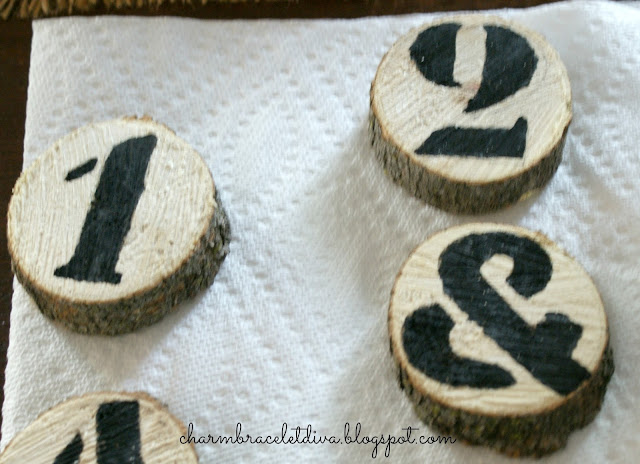 DIY Rustic Farmhouse Wood Slice Coasters with numbers by Charm Bracelet Diva {At Home}